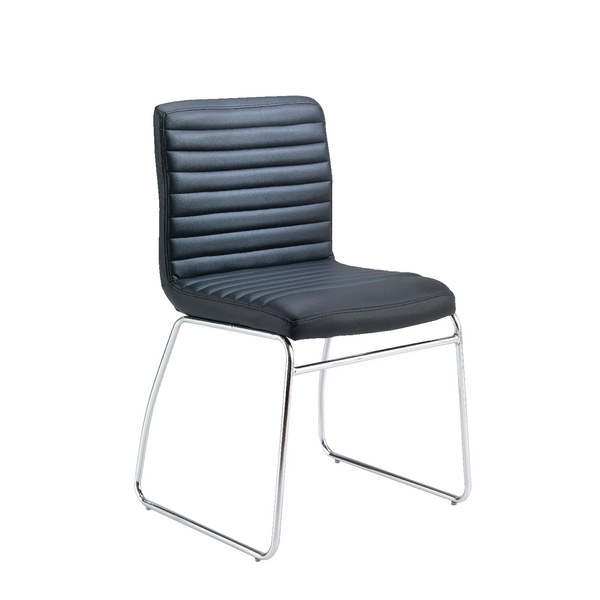 First Meeting Chair Black PU Chrome Base