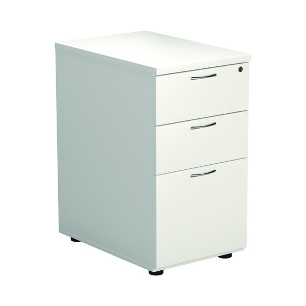 First Desk High Pedestal 3 Drawer 600mm Deep White