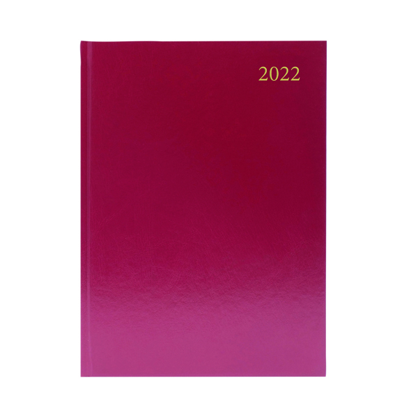 Desk Diary 2 Pages Per Day A4 Burgundy 2022 KF2A4BG22