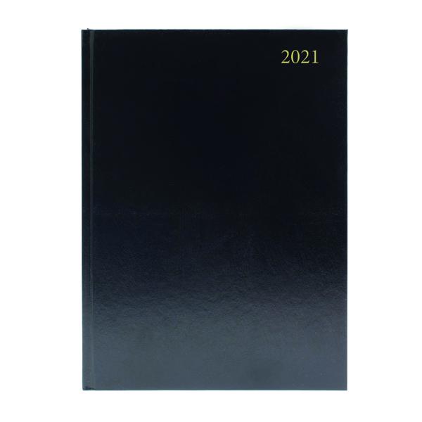Desk Diary Day Per Page A4 Black 2021
