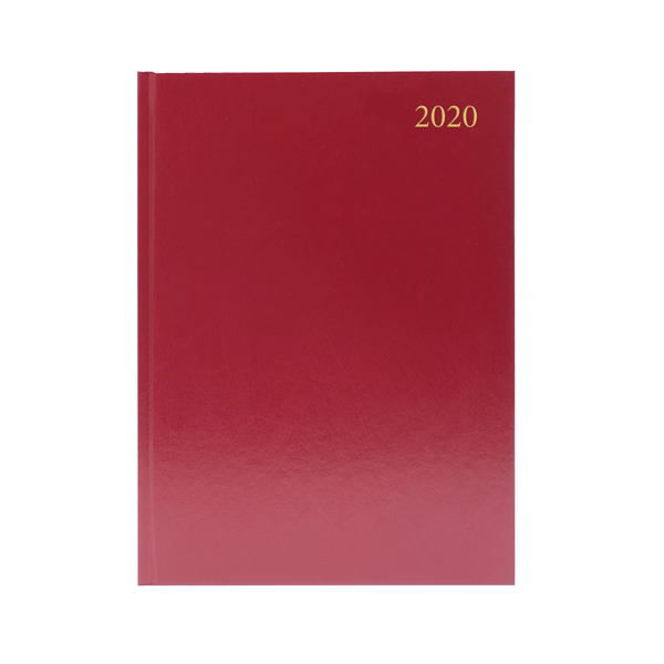 Desk Diary A4 2 Days Per Page 2020 Burgundy