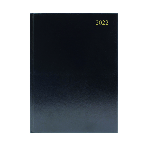Desk Diary 2 Days Per Page A4 Black 2022