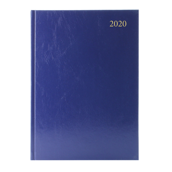 Desk Diary Blue A4 2 Days Per Page 2020 (Reference calender on each page)
