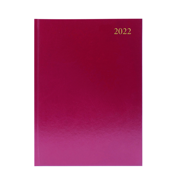 Desk Diary Week To View A4 Burgundy 2022