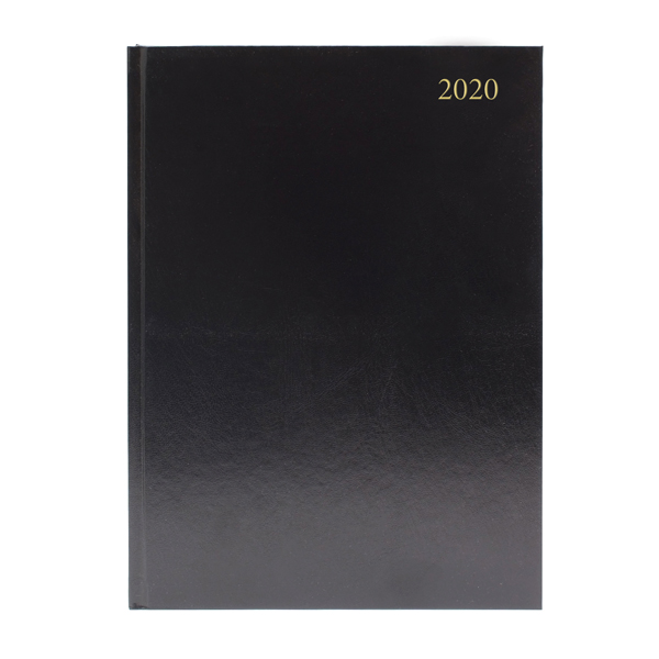 Desk Diary A4 Week to View 2020 Black (Reference calendar on each page)