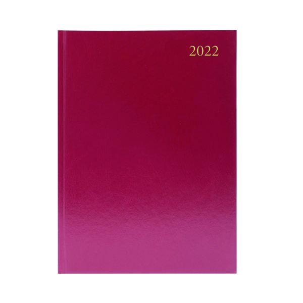 Desk Diary Day Per Page Appointments A5 Burgundy 2022