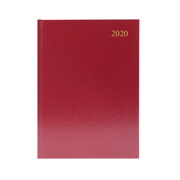 Desk Diary A5 2 Days Per Page 2020 Burgundy
