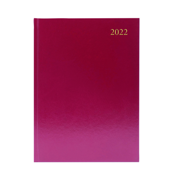 Desk Diary 2 Days Per Page A5 Burgundy 2022