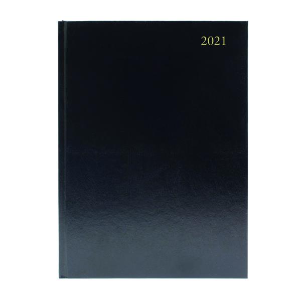 Desk Diary 2 Days Per Page A5 Black 2021