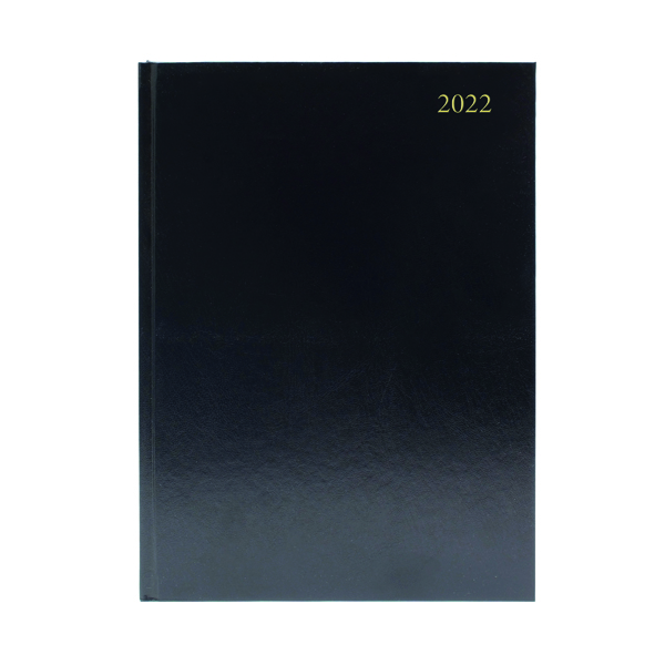 Desk Diary 2 Days Per Page A5 Black 2022