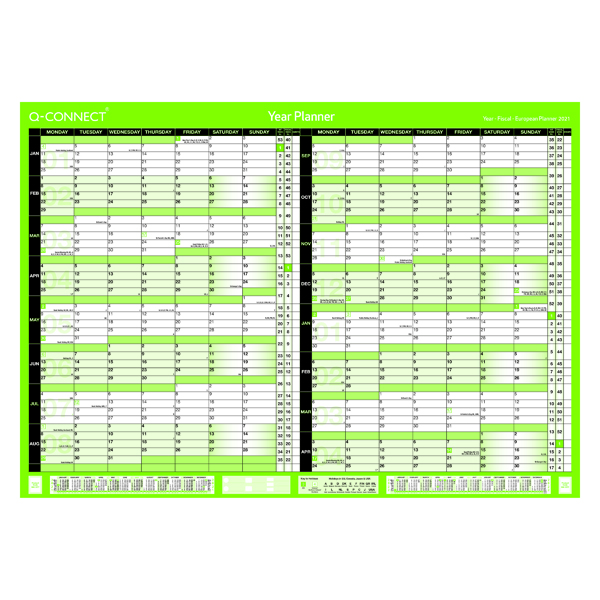Q-Connect 16 Month Planner A1 Unmounted 2021-22