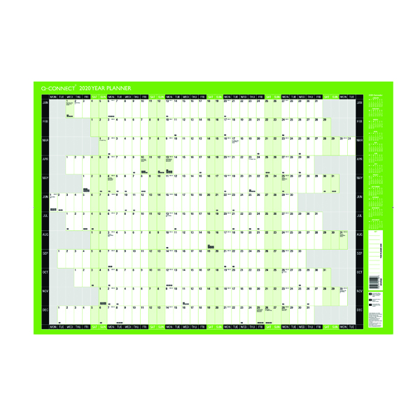 Q-Connect Compact Year Planner Unmounted 590 x 420mm 2020