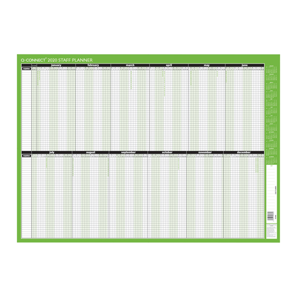 Q-Connect Staff Planner Unmounted 855 x 610mm 2020