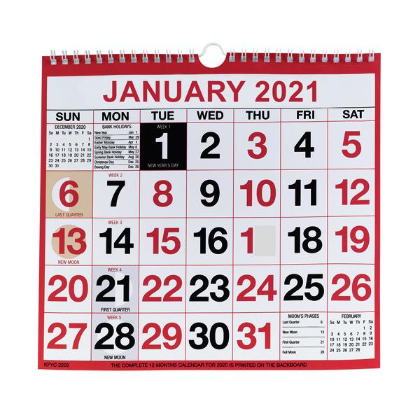 Wirebound Monthly Calendar 249 x 231mm 2021