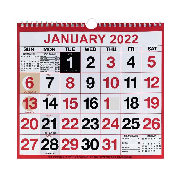 Wirebound Month To View Calendar 249x231mm 2022