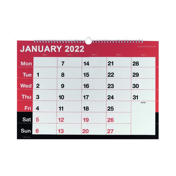 Wirebound Month To View Calendar A3 2022