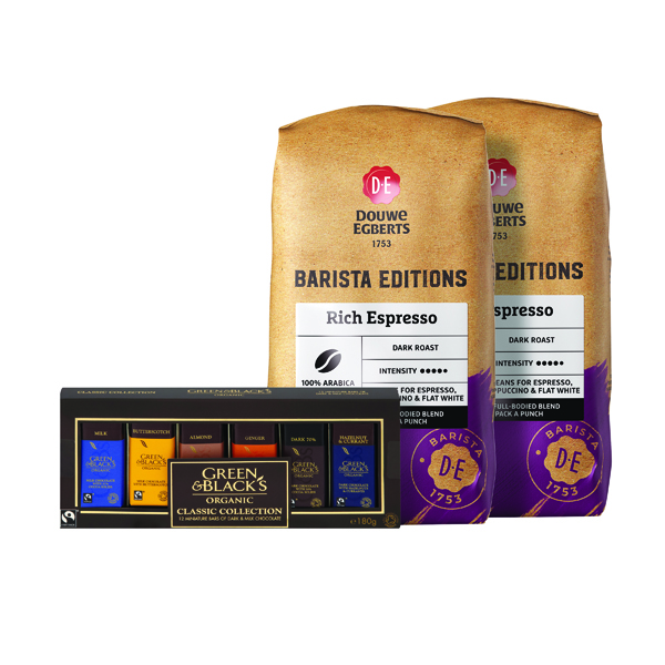 Buy 2 Douwe Egberts Rich Espresso Beans 1kg FOC Green and Blacks Miniatures