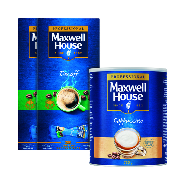 Maxwell House Decaf Sticks Pk200 Buy 2 FOC Cappuccino 750g