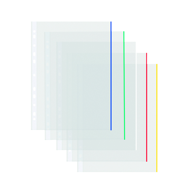 Image for Coloured Edge Punched Pockets A4 (Pack of 100) 9410410