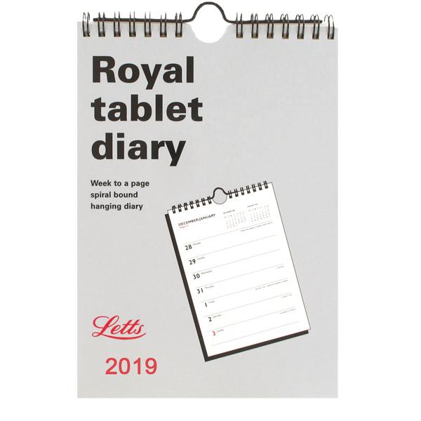 Letts Royal Tablet Calendar A5 2019 5-TRT