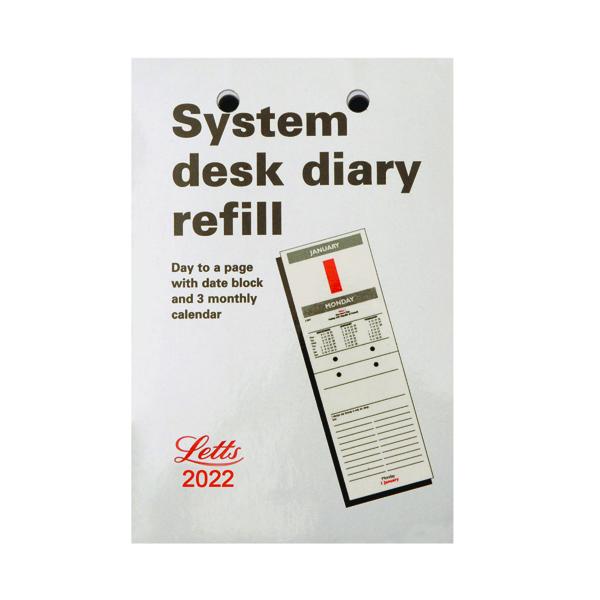 Letts System Desk Calendar Refill 2022 22-TSDR