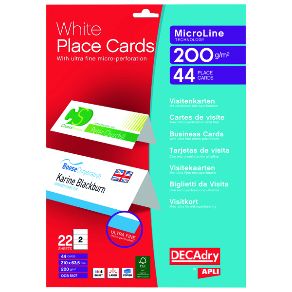 Decadry Perforated Place Cards 200gsm White (Pack of 44) OCB5107