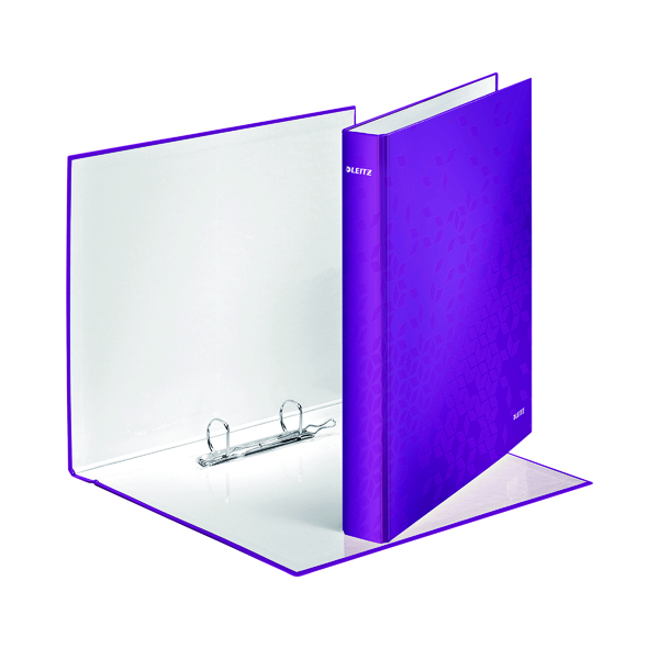 Leitz WOW 2 D-Ring Binder A4 Plus 25mm Purple (Pack of 10) 42410062