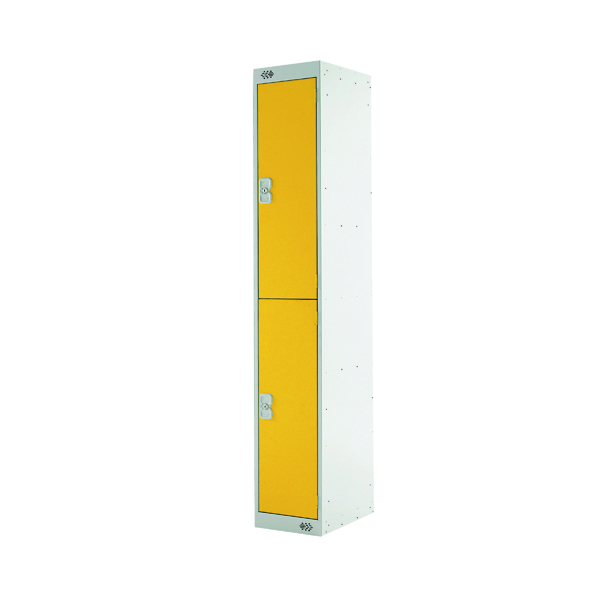 Two Compartment Locker D300mm Yellow Door (Dimensions: H1800 x D300 x W300mm)