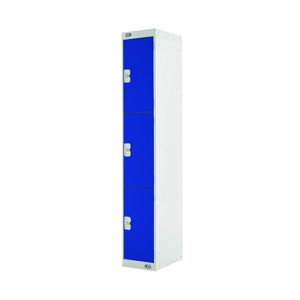Three Compartment Locker D300mm Blue Door (Dimensions: H1800 x D300 x W300mm)