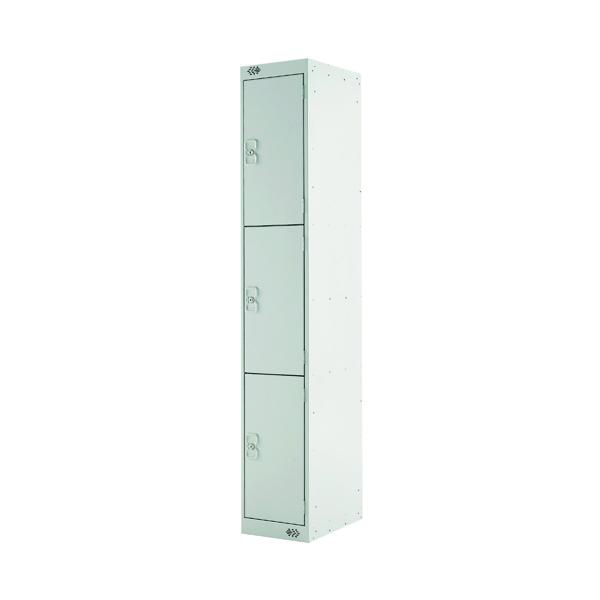 Three Compartment Locker D300mm Light Grey Door