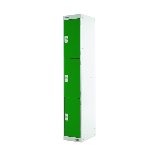 Three Compartment Locker D300mm Green Door