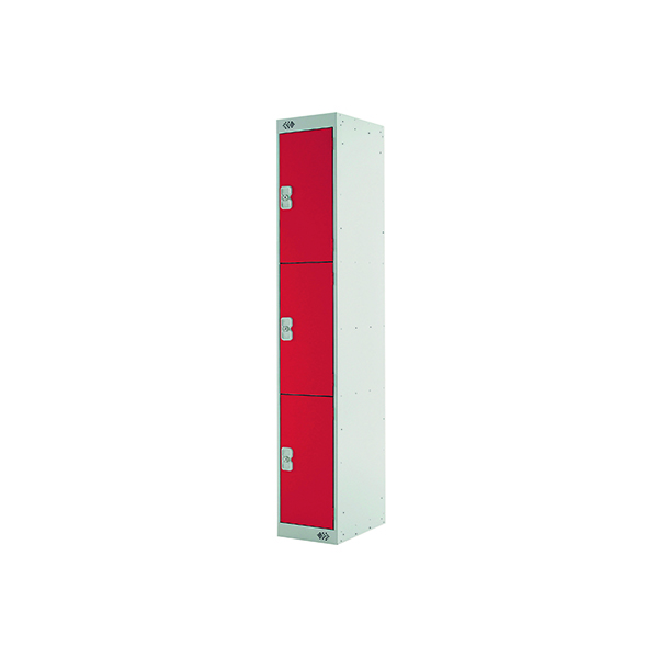 Three Compartment Locker D300mm Red Door )Dimensions: H1800 x D300 x W300mm)