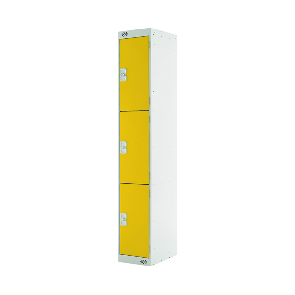 Three Compartment Locker D300mm Yellow Door