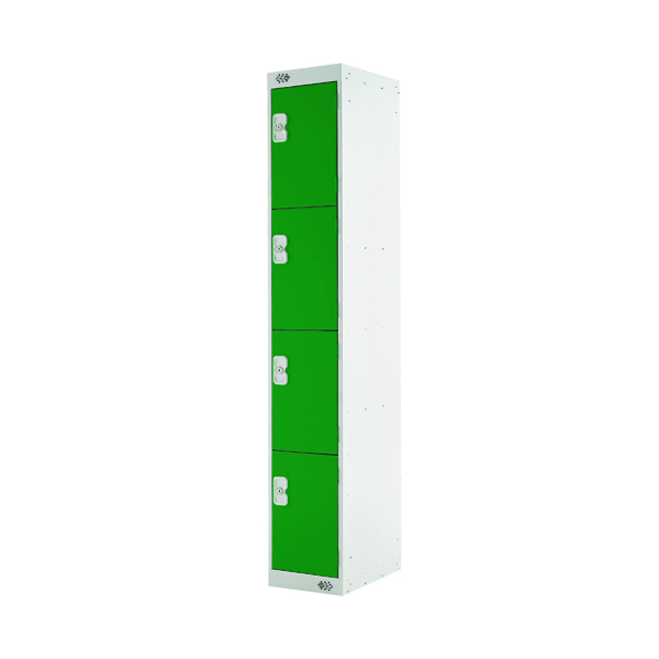 Four Compartment Locker D300mm Green Door (Dimensions: H1800 x D300 x W300mm)