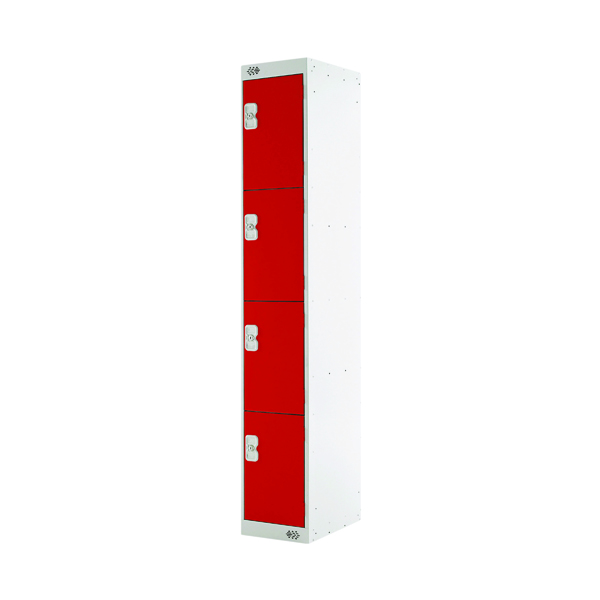 Four Compartment Locker D300mm Red Door