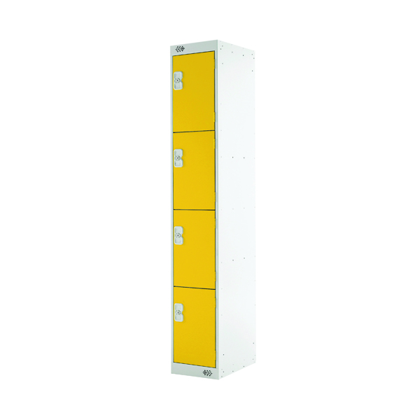 Four Compartment Locker D300mm Yellow Door