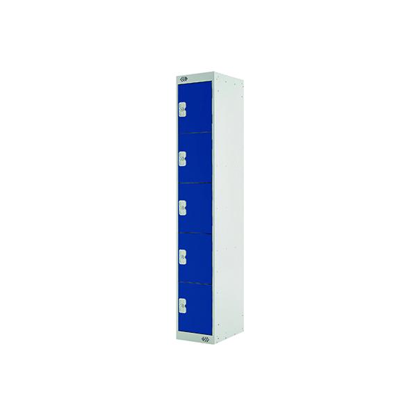 Five Compartment Locker D300mm Blue Door (Dimensions: H1800 x D300 x W300mm)