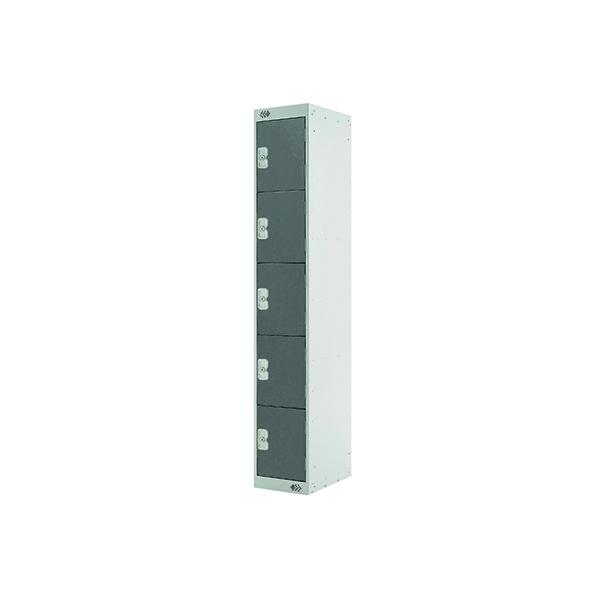 Five Compartment Locker D300mm Dark Grey Door