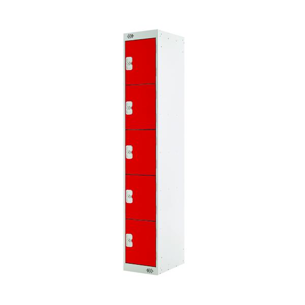 Five Compartment Locker D300mm Red Door