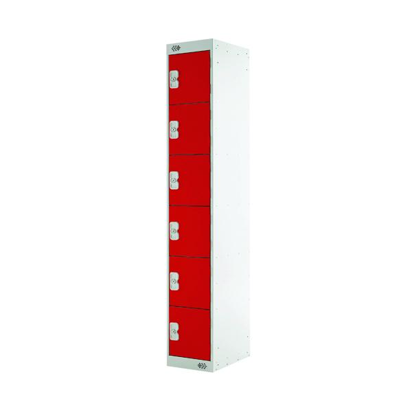 Six Compartment Locker D300mm Red Door