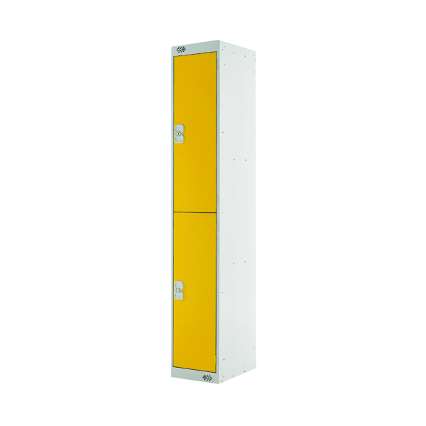 Two Compartment Locker 450mm Yellow Door (Dimensions: H1800 x W300 x D450mm)