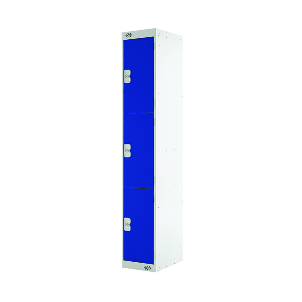 Three Compartment Locker 450mm Blue Door (Dimensions: H1800 x W300 x D450mm)