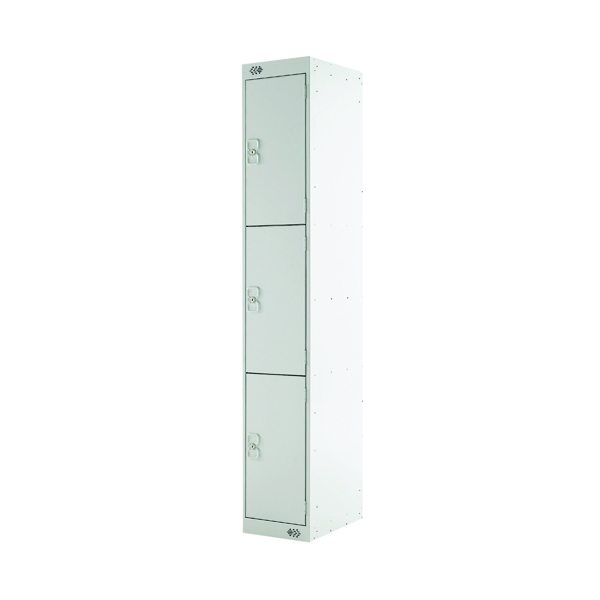 Three Compartment Locker D450mm Light Grey Door