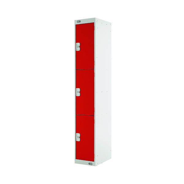 Three Compartment Locker D450mm Red Door (Dimensions: H1800 x W300 x D450mm)