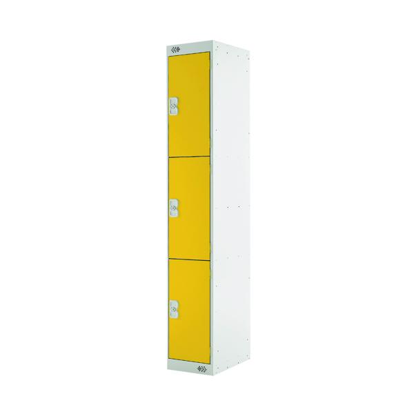 Three Compartment Locker D450mm Yellow Door