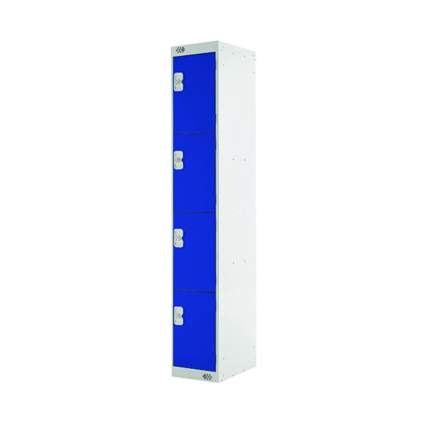 Four Compartment Locker D450mm Blue Door (Dimensions: H1800 x W300 x D450mm)