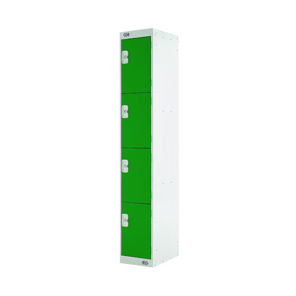 Four Compartment Locker D450mm Green Door (Dimensions: H1800 x W300 x D450mm)