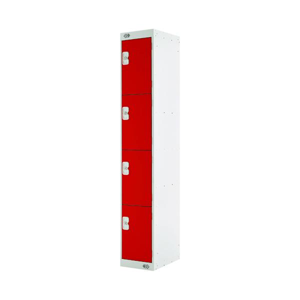 Four Compartment Locker D450mm Red Door MC00059