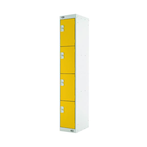 Four Compartment Locker D450mm Yellow Door