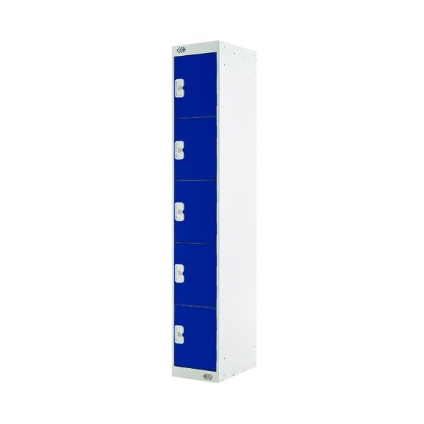 Five Compartment Locker D450mm Blue Door (Dimensions: H1800 x W300 x D450mm)